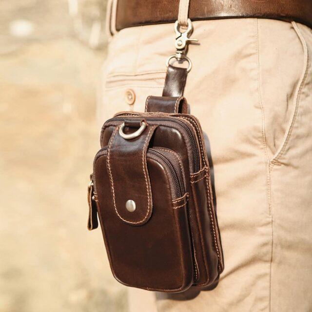 Pochette cuir homme avec passant ceinture